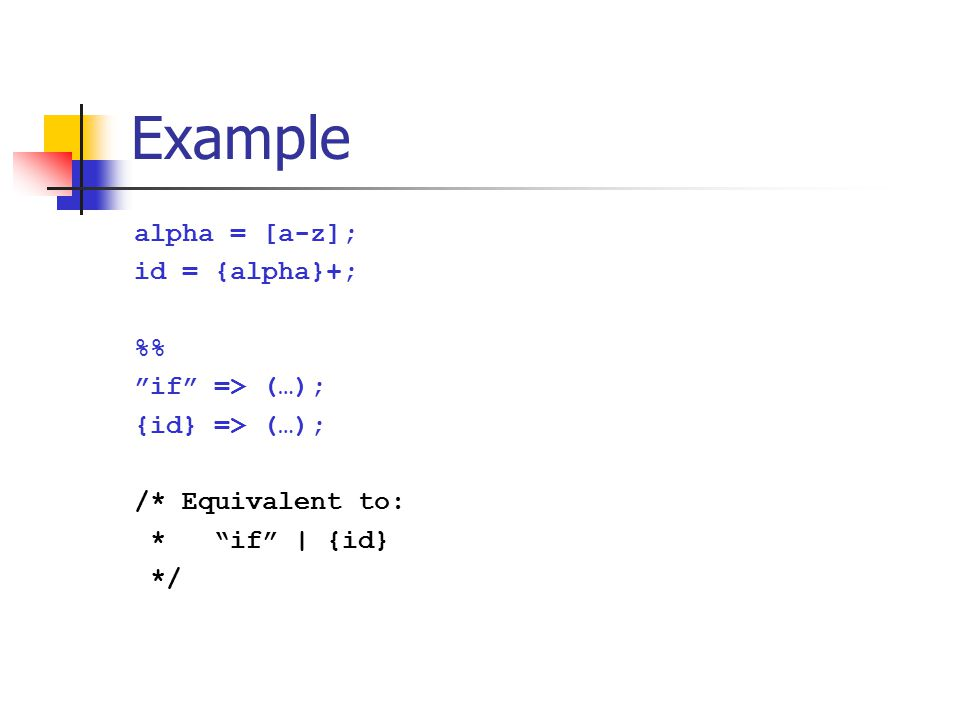 Example alpha = [a-z]; id = {alpha}+; %% if => (…);